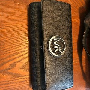 MK Black and Silver Wallet